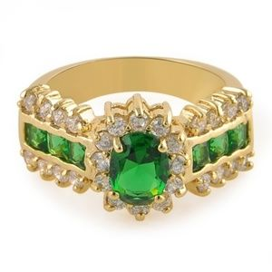 Jewelry - NEW ~ Gold Plated ~ EMERALD GREEN ~ WH SAPPHIRE
